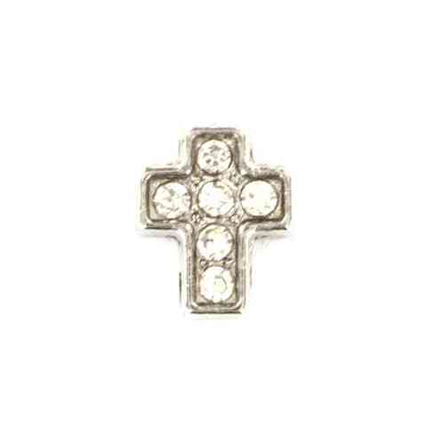 Floating Charm Kreuz mit Strass