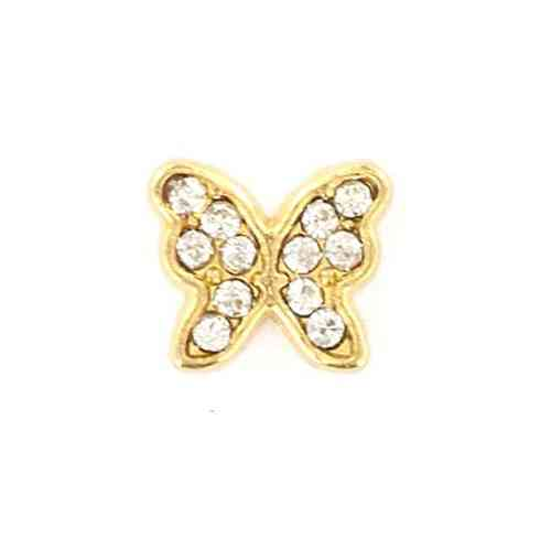 Floating Charm goldfarbener Schmetterling mit Strass