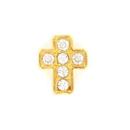 Floating Charm goldfarbenes Kreuz mit Strass