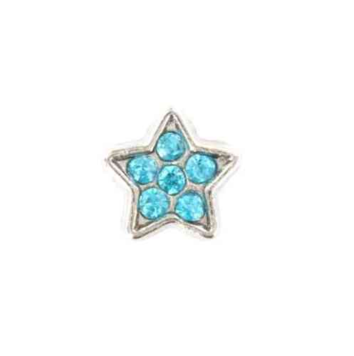 Floating Charm blauer Strass-Stern